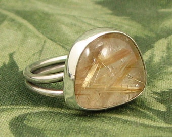 Rutilated Quartz Sterling baroque Ring size 7.75 - OOAK
