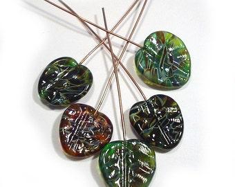 Handmade Glass, Lampwork Leaves, Amber Leaf Beads, Green Leaf Beads, Leaf Headpins, sea lampwork