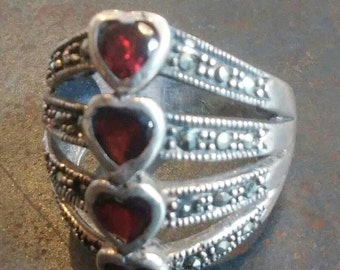 Vintage Ribcage Ring in Sterling Silver with Four Garnet Hearts and Tiny Marcasites. Size 7.5 Multi band, Joined in Back