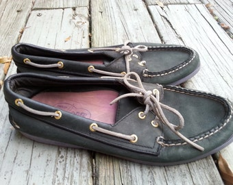Vintage Sperry Topsiders Navy Blue Leather Womens Size 10M Mens Size 8M