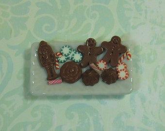 Dollhouse Miniature Tray of Christmas Sweets - B