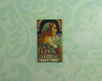 Dollhouse Miniature Italian Lady Faux Tile Plaque