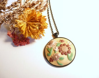 Autumn Colors Jewelry, Flower Garden Necklace, Ready to Ship, Brown Gold Green, Fall Colors, Floral Artisan Jewelry, Handmade Polymer Clay