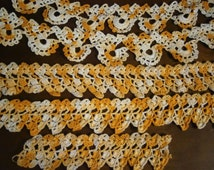 Vintage Handcrafted Crocheted Lace Trim in  Variegated Yellows 5 pieces,  Antique Crocheted Trim