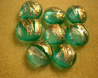 Dichroic Fused Glass Cabochons, Oops Lot 8 Aqua Glass Cabs, Willow Glass