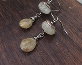 Golden thread. Calcite and Rutilated Quartz artisan earrings. Mineral jewelry.