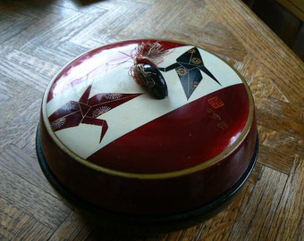Asian Round rice containter with origami motif