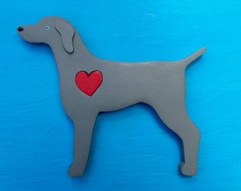 Weimaraner Dog Rustic Heart Dog