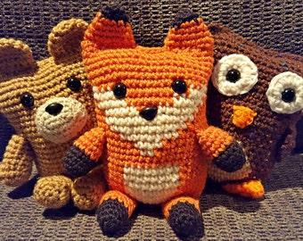 Set of 3 box animals stuffed animals