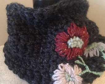 Charcoal Gray Cowl with Woolly Tattoo Flowers