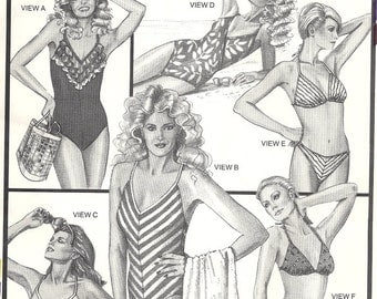 Stretch & Sew 1374 Misses Maillot Swim Suit, Bikini Vintage Sewing Pattern Bust 30, 32, 34, 36, 38, 40, 42, 44, 46