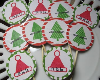 Holiday Santa and Tree Cupcake toppers / Food picks:  set of 10