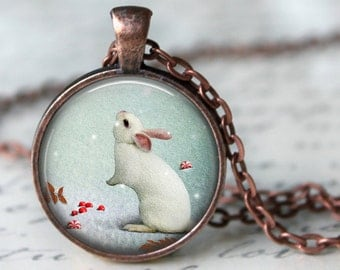 Snow Bunny Pendant, Necklace or Key Chain - Choice of 4 Colors - Winter, Holiday