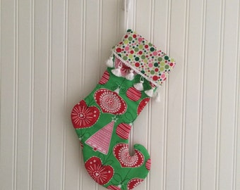 Ready to ship Retro Mod Christmas Ornaments Stocking for the Holiday Season- Elf Curled Toe- Ready to Ship