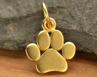 Paw Print Charm - small dog or cat paw charm - 24k gold vermeil over sterling silver