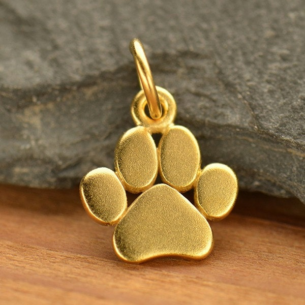 Paw Print Charm Small Dog Or Cat Paw Charm 24k Gold