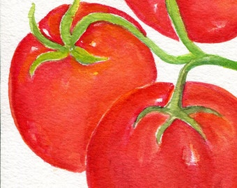 Original tomatoes watercolor painting, kitchen art, tomato painting, 4 x 6 original watercolor, kitchen decor, food art, tomatoes, culinary