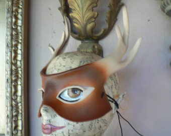 Deer mask, leather mask, white tail deer with antlers, nature greenman costume mask