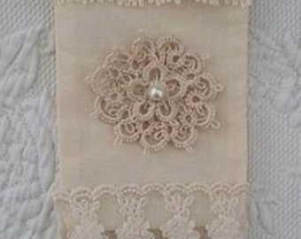 Cream Hand Tatted and Vintage Lace Cottage Chic Gift Bag