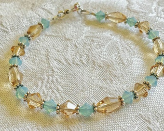 Sand and Sea Bracelet with Genuine Swarovski Crystals and Sterling Silver