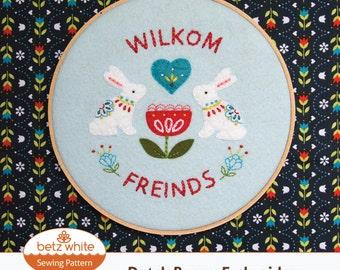 Dutch Bunny Embroidery PDF pattern