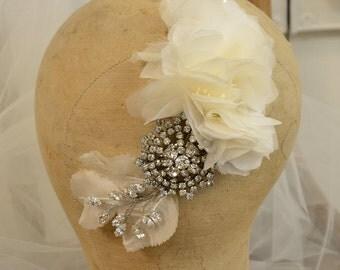 Bridal Headpiece, Hair Vine, Hair Wrap, Silk Flowers, Crystals and Rhinestones