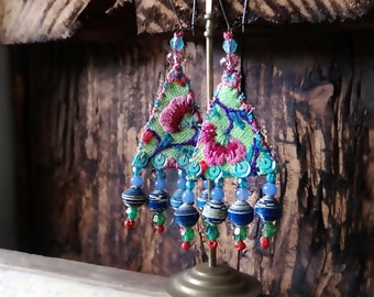 African Breeze Earrings, Vintage Embroidery, Triangle, Sparkle, Boho Earrings, Pretty, Dangle Earrings, Tribal