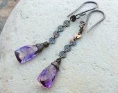 MOSS AMETHYST earrings, Amethyst earrings sterling silver, minimal jewelry