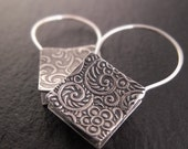 Shopping Bag Earrings-- Square Sterling Silver Hoop-Style Earrings