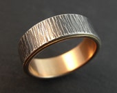 Wedding Band - Tree Bark pattern wedding ring - Sterling Silver Ring with 14k Rose Gold Lining - Handmade in Seattle