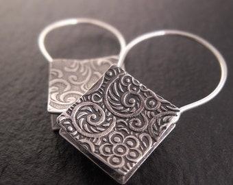 Shopping Bag Earrings-- Square Sterling Silver Hoop-Style Earrings