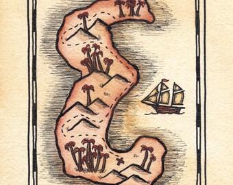 "Letter E Treasure Map / 5"" x 7"" Archival Print / Pirate Map of Initial E Shaped Island / Alphabet Letter E / Art for Kids Room / Pirate Art"