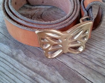 Vintage 1970s Belt Leather Brass Butterfly Buckle To 33 Waist 2016306
