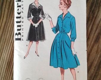 Vintage 1950s Pattern Dress 50s Shirtdress Butterick 9229 B38 2016335