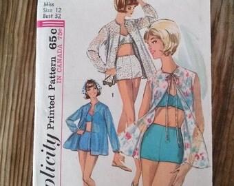 Vintage 1960s Pattern Bathing Suit 60s Bikini Cabana Jacket Simplicity 5507 B32 2016335