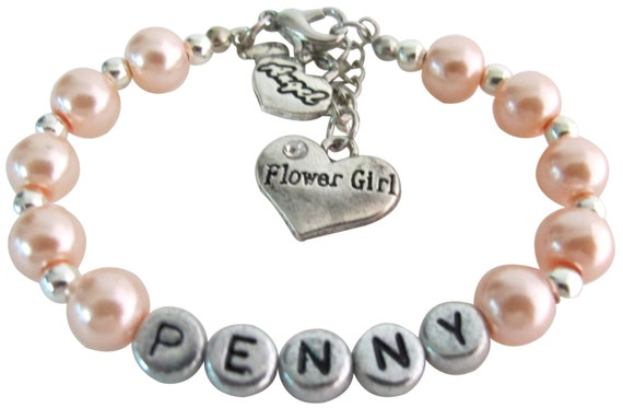 Flower Girl Bracelet Custom Name Girl Toddler Gift Wedding Baptism Baby Gift Personalized Girls Bracelet Free Shipping In USA