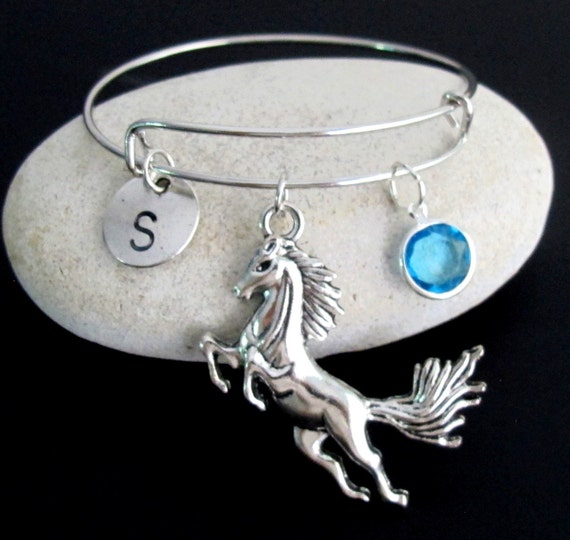 Horse bangle, Horse bracelet, Silver horse bracelet, Expandable bangle, Personalized Bangle, Brithsone Initial bracelet,Free Shipping in USA