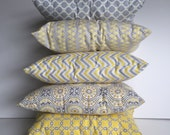 Small Decortive Pillows - set of 5 - coordinating yellow and gray