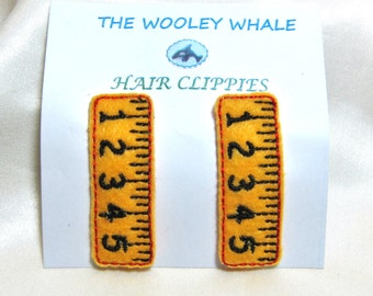 Back To School Ruler Hair Clips set of 2 embroidered on felt