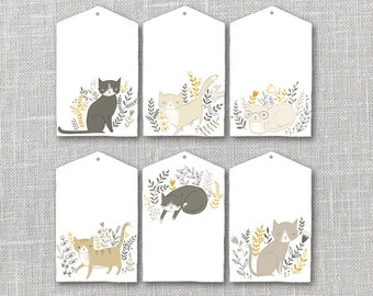 Cat Gift Tags Printable Instant Download PDF