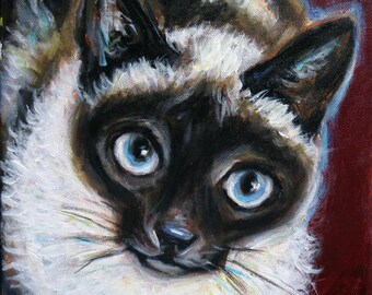 "8"" x 8"" Custom Pet Portrait Painting of One Cat on Ready to Hang Canvas Cat Portrait"