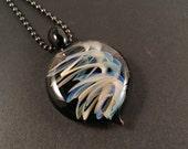 Glass Helix Pendant - With Gunmetal Ballchain Necklace