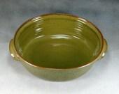 Green Small Oval Cramic Casserole Hand thrown Stoneware Pottery Casserole 3