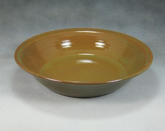 Orange and Green Ceramic Deep Dish Pie Pan Hand Thrown Stoneware Pottery 2