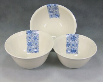 Blue and White Fine China Porcelain Serving Bowl Set Hand Thrown Translucent Ceramic Nesting Bowls Pottery Mixing Bowls 2