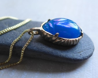 Blue Glass Scarab Beetle Necklace - Scarab Bug Insect Bezel Set Pendant - Lucky Beetle Jewelry