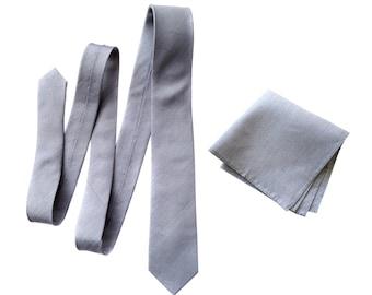 "Light gray linen necktie. Silver silk & linen blend woven men's tie. ""Woodward."" Bias cut, rustic necktie. Pocket squares available too!"