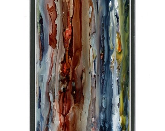 Contemporary art, splash art, modern art,  alcohol ink painting with double white mat, original art, abstraction