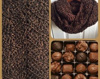 SALE! Chocolate, Caramel Fleck Wave Infinity Scarf