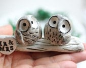 Clay Owl Cake Topper -Owl Cake topper - Owls Wedding cake topper - Miniature Hand sculpted Clay Owls - READY TO SHIP